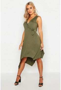 Womens Khaki Plus Wrap Front Hanky Hem Dress