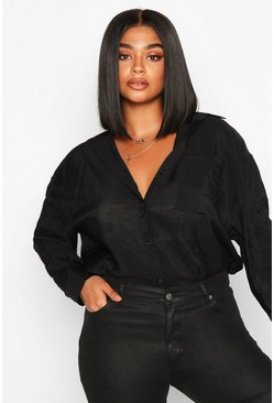 Womens Black Plus Sheer Oversized Boyfriend Shirt