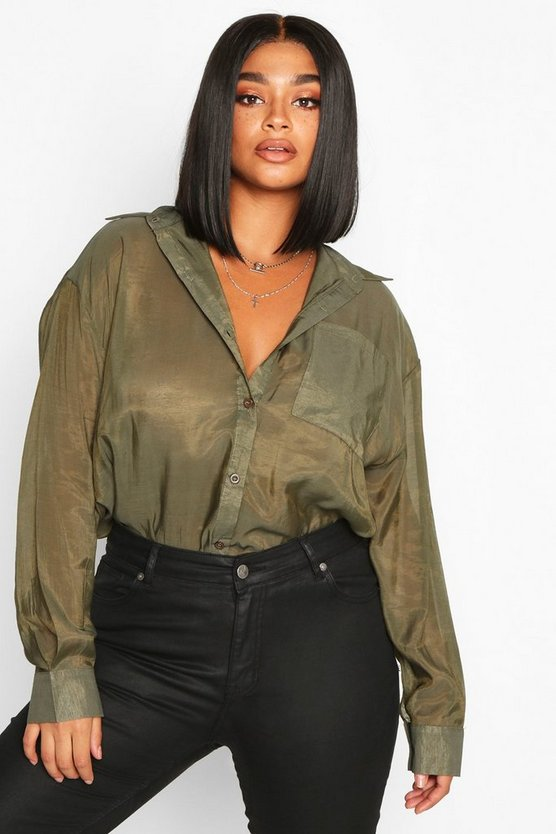 Khaki Plus Sheer Oversized Boyfriend Shirt