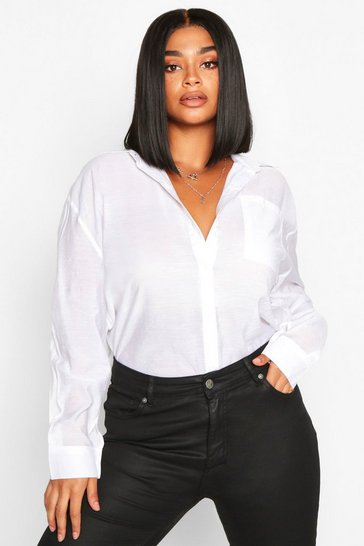 Womens White Plus Sheer Oversized Boyfriend Shirt
