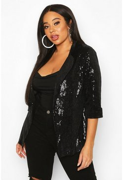 Womens Black Plus Sequin Velvet Oversized Blazer