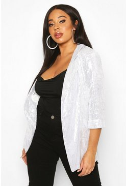 Womens White Plus Sequin Velvet Oversized Blazer