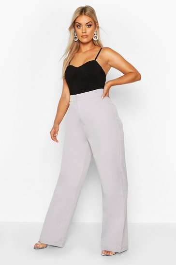 Womens Grey Plus Slim Leg Tailored Trouser