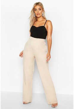 Taupe Plus Slim Leg Tailored Pants