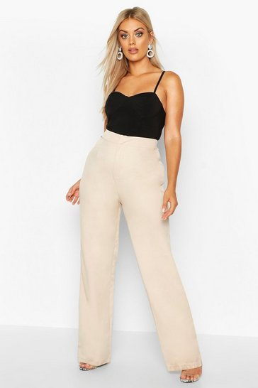 Womens Taupe Plus Slim Leg Tailored Trouser