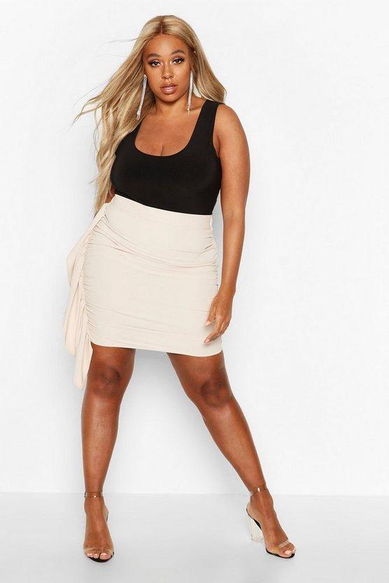 Plus Ruched Drape Skirt