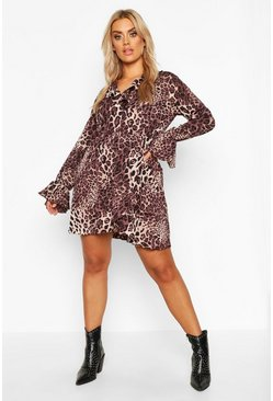 Womens Brown Plus Leopard Ruffle Plunge Skater Dress