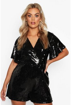 Dam Black Plus Sequin Wrap Angel Sleeve Playsuit