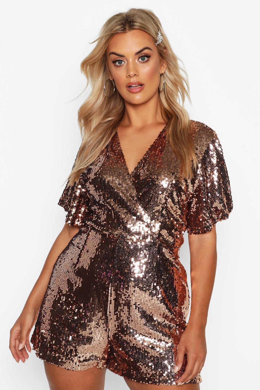 womens plus sequin wrap angel sleeve romper - metallics - 18