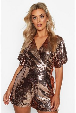 Gold Plus Sequin Wrap Angel Sleeve Playsuit