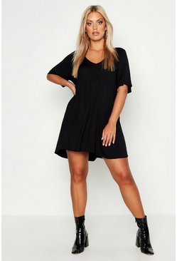 Womens Black Plus V Neck Swing Dress