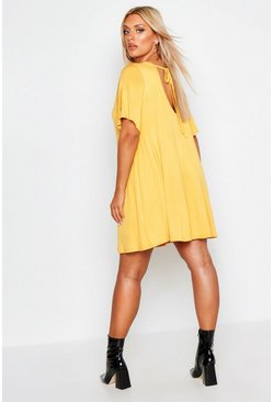 Womens Mustard Plus V Neck Swing Dress