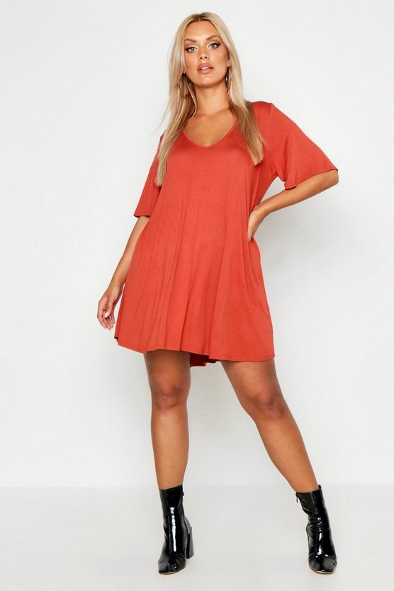 Womens Terracotta Plus V Neck Swing Dress