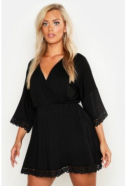 Womens Black Plus Crochet Lace Trim Beach Dress