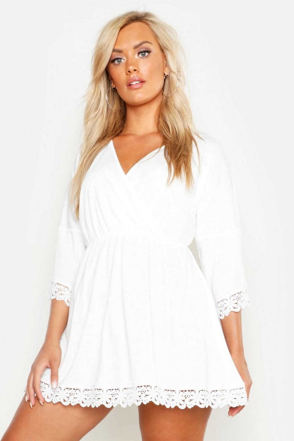 Plus Crochet Trim White Dress