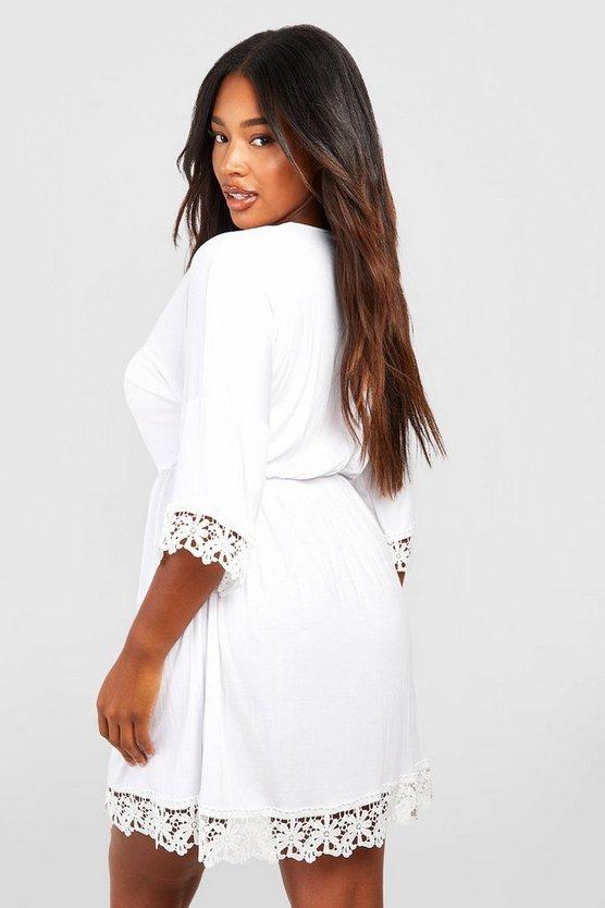 Plus Crochet Lace Trim Beach Dress