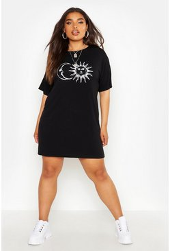 Womens Black Plus Sun And Moon T-Shirt Dress