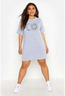 Womens Grey Plus Sun And Moon T-Shirt Dress