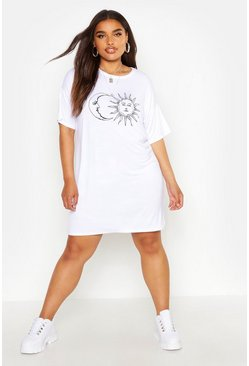 Womens White Plus Sun And Moon T-Shirt Dress