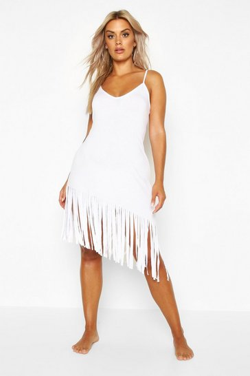 Womens White Plus Tassel Strappy Beach Dress