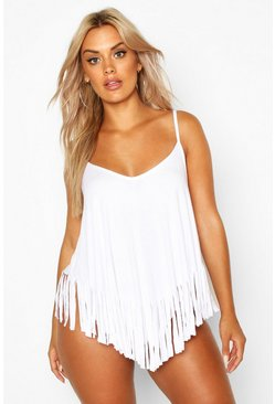 White Plus Tassel Beach Cami