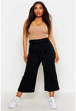 Womens Black Plus Bandage Rib Belted Culottes