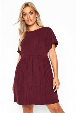 Womens Berry Plus Soft Rib Smock Dress