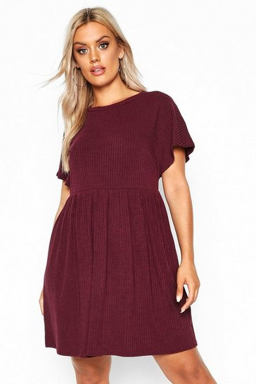 Berry Plus Soft Rib Smock Dress