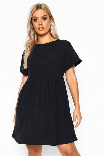 Womens Black Plus Soft Rib Smock Dress