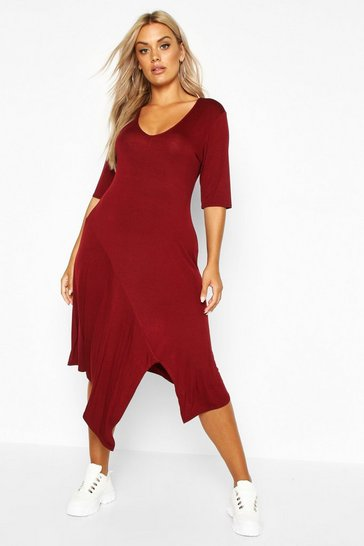 Womens Berry Plus Ruffle Detail Hanky Hem Swing Dress