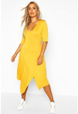 Womens Mustard Plus Ruffle Detail Hanky Hem Swing Dress