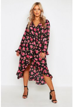 Black Plus Floral Rose Wrap Midi Dress