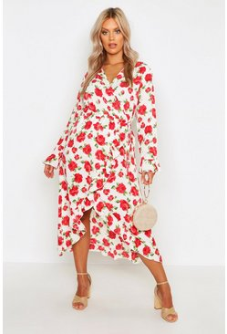 Ivory Plus Floral Rose Wrap Midi Dress
