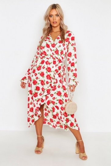 Womens Ivory Plus Floral Rose Wrap Midi Dress