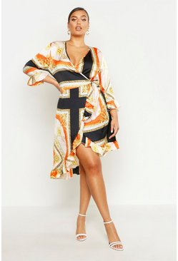 Womens Orange Plus Satin Chain Print Ruffle Wrap Dress