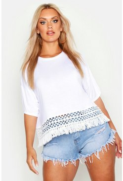Womens White Plus Crochet Tassel Beach T-Shirt