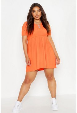 Orange Plus Rib Round Neck Smock Dress