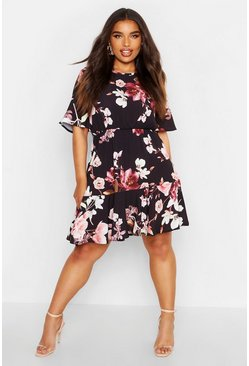 Womens Black Plus Tiered Floral Crepe Smock Dress