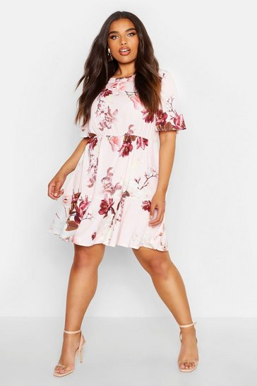 Womens Blush Plus Tiered Floral Crepe Smock Dress