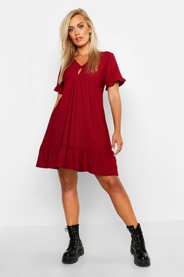 Berry Plus Ruffle Detail Smock Dress
