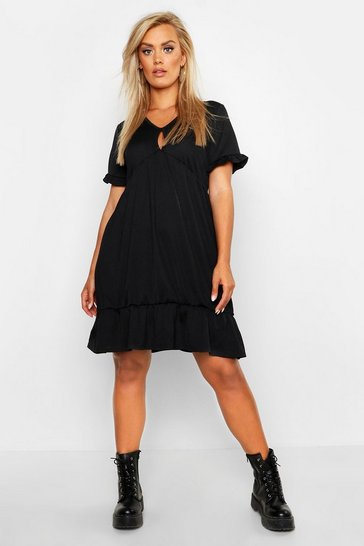 Black Plus Ruffle Detail Smock Dress