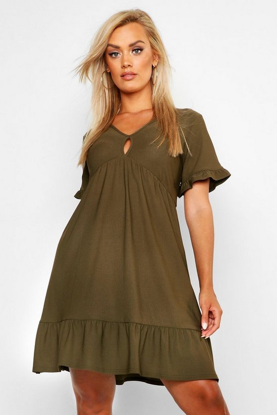 Womens Khaki Plus Ruffle Detail Smock Dress