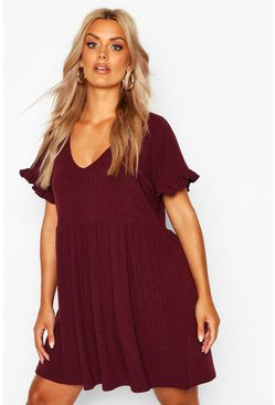 Womens Berry Plus Soft Rib Ruffle Smock Dress