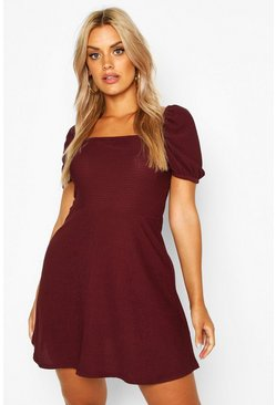 Womens Berry Plus Shirred Puff Detail Skater Dress