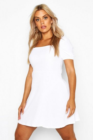 Womens White Plus Shirred Puff Detail Skater Dress