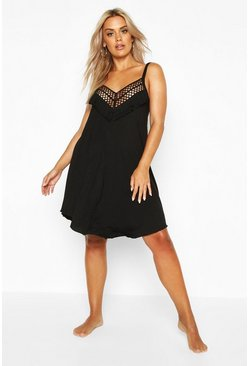 Womens Black Plus Crochet Detail Beach Dress