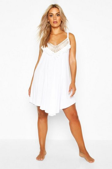 Womens White Plus Crochet Detail Beach Dress