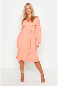 Womens Coral Plus Off The Shoulder Frill Hem Midi Dress