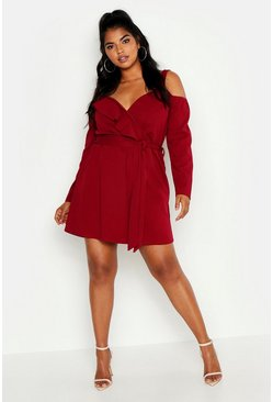 Berry Plus Plunge Ruffle Wrap Long Sleeve Dress