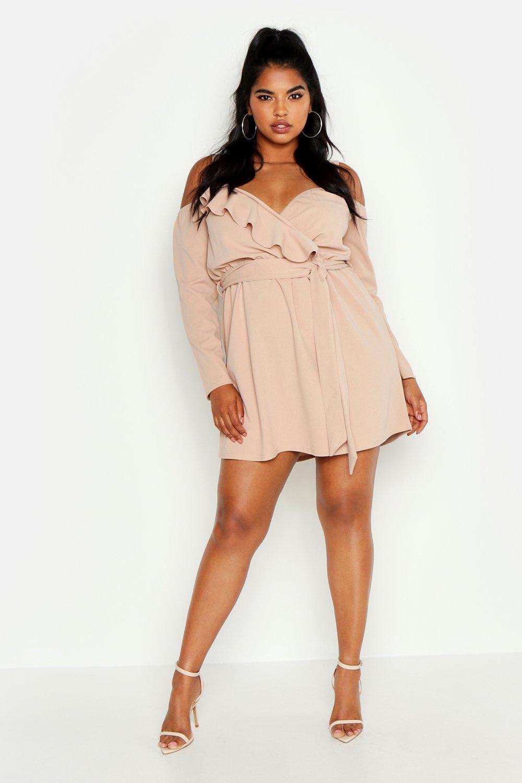 womens plus plunge ruffle wrap long sleeve dress - beige - 24